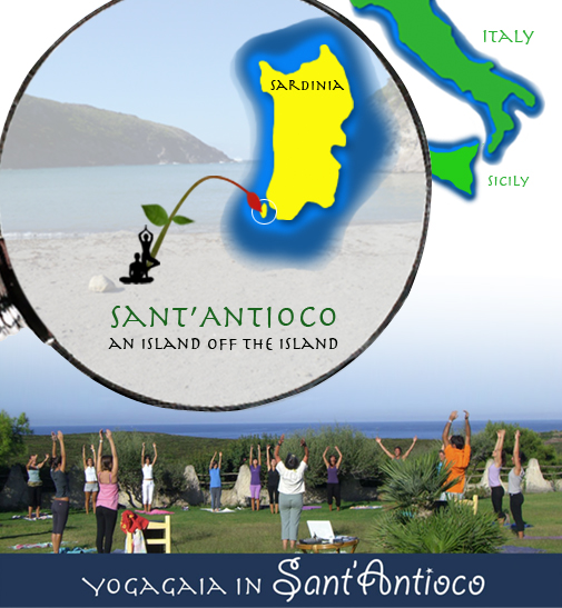 Graphic montage of an eye blower located on a map showing Sant'Antioco, Sardinia, Italy, Yoga and nature immersion: