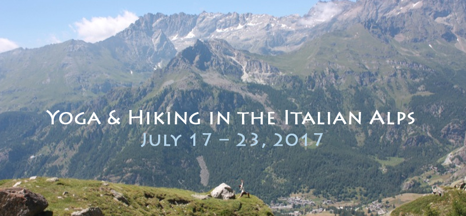 Nature yoga, hiking in the Italian Alps, 2017